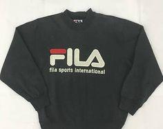 Pull Fila Biella Italia Sweatshirt noir Fila Big Logo cavalier de 90 ' s Taille M #S832