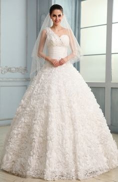 Modest Hall Ball Gown Sleeveless Lace Bridal Gowns