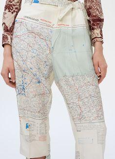 Slit trousers in map printed silk - Fall / Winter Runway 2017   CÉLINE
