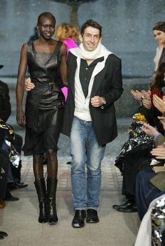 Michel Klein on the runway with model Alek Wek #luxury #hautecouture #modewalk