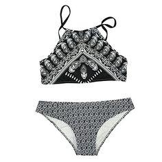 Women's Bikini Swimsuits - Cupshe Fashion Womens Feather Printing Black Tank Padding Bikini Bathing Suit >>> Click image to review more details.