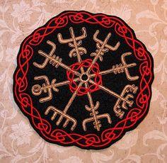 Vegvisir Viking Compass Iron On Embroidery Patch MTCoffinz - Choose Size Viking Embroidery, Iron On Embroidery, Embroidery Patches, Embroidered Patch, Viking Shield Design, Nordic Vikings, Filipino Tattoos, Compass Design, Shield Maiden