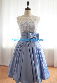 Ball Gown Blue Sweetheart Lace Sleeveless Bow Knee-length Short Chiffon Prom Gown Evening Dress Cocktail Dress Homecoming Dress Formal Dress