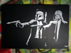 Banksy Graffiti Star Wars Pulp Fiction alternative print On Canvas Abstract street art Home Deco Collectibles inch Pulp Fiction, Fiction Movies, Power Pop, Roy Lichtenstein, Andy Warhol, Funny Tees, Funny Tshirts, Pop Art, Fanart