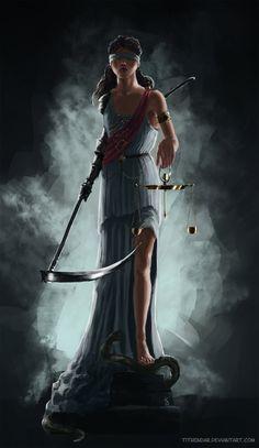 Themis (aka Lustitia, Justitia)- Ancient Greek goddess of divine order, law, and custom.