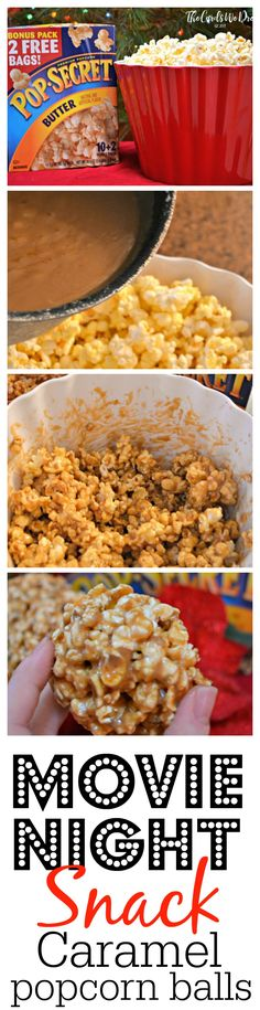 The Perfect Movie Night Snack: Caramel Popcorn Balls - Christmas Favorites - Food Popcorn Recipes, Snack Recipes, Cooking Recipes, Popcorn Snacks, Easy Recipes, Yummy Snacks, Healthy Snacks, Family Meals, Kids Meals