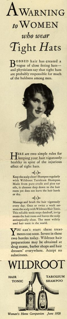 A Warning to Women who wear Tight Hats; 1928