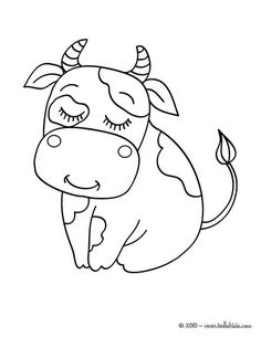 Cow coloring page! Cute and amazing farm animals coloring page for kids. More coloring sheets on hellokids.com