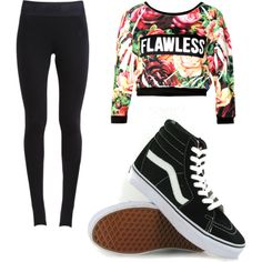 A fashion look from March 2015 featuring NIKE leggings and Vans sneakers. Browse and shop related looks.