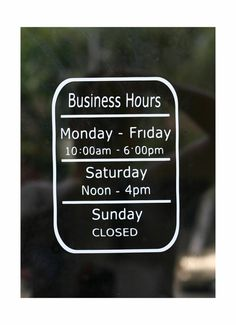 Business Hours Store window vinyl decal - Open & Closed hours