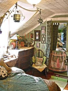 ⋴⍕ Boho Decor Bliss ⍕⋼ bright gypsy color  hippie bohemian mixed pattern home decorating ideas -