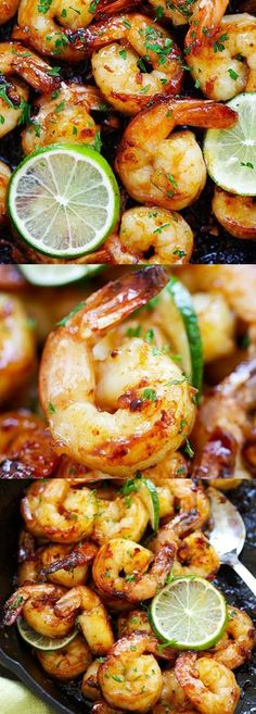 Garlic Honey Lime Shrimp – garlicky, sweet, sticky skillet shrimp with fresh lime. This recipe is so good and easy, takes only 15 mins to make : rasamalaysia Fish Recipes, Seafood Recipes, Dinner Recipes, Cooking Recipes, Healthy Recipes, Lime Shrimp Recipes, Cilantro Lime Shrimp, Recipies, Dinner Ideas