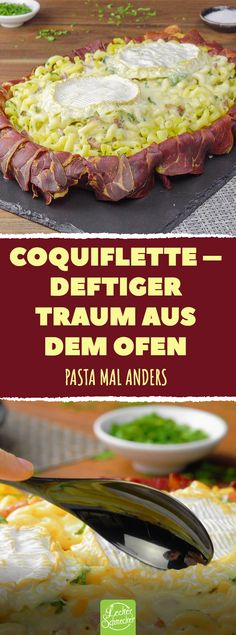 Coquiflette – deftiger Traum aus dem Ofen Pasta mal anders #rezepte #coquiflette #nudeln #camembert #schinken #bacon Feta, How To Make Broccoli, Bacon, Food Tags, Tasty, Yummy Food, Food Diary, Party Snacks, I Love Food