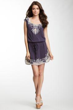 Monoreno Embroidered Mesh Drawstring Dress