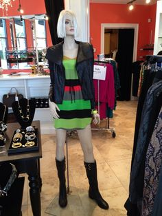 BCBG jacket with zipper slit sleeves! Looks amazing paired with this new Cynthia Vincent dress and Alexis Bittar bangles!