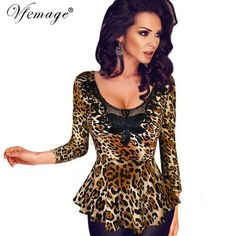 Vfemage Women's Sexy Leopard Crochet Lace Embroidered Leather Flower Slim Tuni Blouse Tops