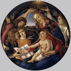 Sandro Botticelli Madonna of the Magnificat (Madonna del Magnificat) 1480-81 Tempera on panel diameter 118 cm Galleria degli Uffizi, Florence