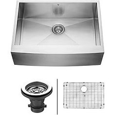 @Overstock - Vigo delivers top quality and unique design in this 30-inch farmhouse, stainless steel, kitchen sink, matching grid and strainer. This long-lasting sink is manufactured with 16-gauge premium 304 series stainless steel construction.http://www.overstock.com/Home-Garden/Vigo-30-inch-Farmhouse-Stainless-Steel-Kitchen-Sink/6006727/product.html?CID=214117 Add to cart to see special price