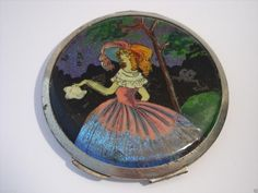 Vintage Art Deco STRATTON Butterfly Wing Crinoline Lady Powder Compact 1920s (03/03/2015)