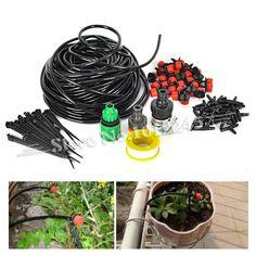 (25 m) DIY Micro Sistema de Riego Por Goteo Planta Automática Auto Kits de Riego Manguera de Jardín con Conector + 30x Gotero regulable(China (Mainland))