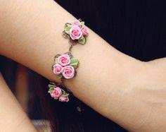 sakura cuffcherry blossom bracelet handmade by by Joyloveclay