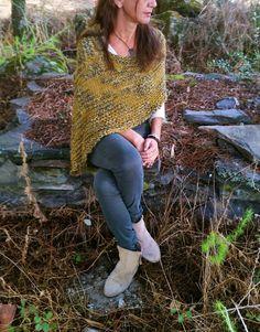 Poncho de lana poncho verde tendencia invierno chal de por EstherTg