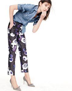 J.Crew women's selvedge chambray shirt, patio pant in violet poppy bi-stretch…