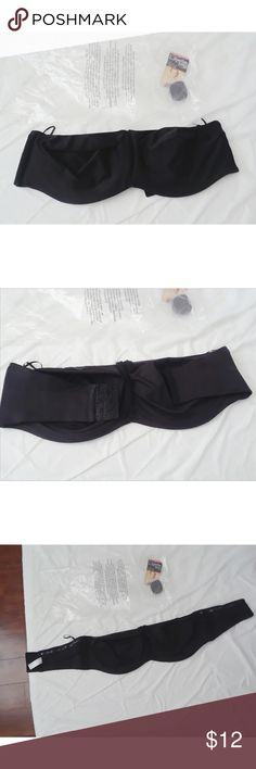 """Lilyette strapless bra New to Posh? Use my code """"PQMIL"""" to get $5 off your first purchase  💖💖MAKE A REASONABLE  OFFER💖💖  Black strapless minimizer bra by Lilyette.   Size 38DD true to size.  Unlined and unpadded cups, silky satin like feel. Has soft rubber on the inside band for stay-put support.  BRAND NEW with strap and original bag. Tag come off while I tried it on (still included in the bag as pcitured). No flaws. Just not my style.  Visibility tags: Victoria's Secret, Bali…"""