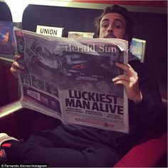 Fernando Alonso took to Instagram on Monday to reassure everyone he's OK after suffering a...