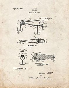 Fish Lure Patent Print Art Poster Old Look (24' x 36')