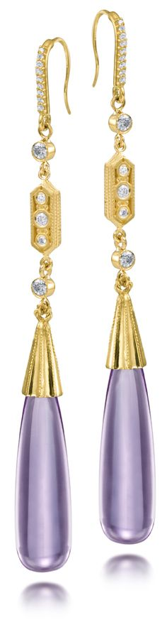 Cabochon Amethyst & Diamond long stiletto earring from the Aragon Collection by Scott Mikolay