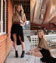 High-Low Skirt with loose tops and wide belt Skirt Tumblr, Black High Low Skirt, How To Look Skinnier, Warm Weather Outfits, Thing 1, Tees, Spring Outfits, Autumn Fashion, Cute Outfits