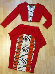 2pc Peplum Pencil Skirt Set with African Print ~Latest African Fashion, African Prints, African fashion styles, African clothing, Nigerian style, Ghanaian fashion, African women dresses, African Bags, African shoes, Kitenge, Gele, Nigerian fashion, Ankara, Aso okè, Kenté, brocade. ~DK by AMANIVOICE