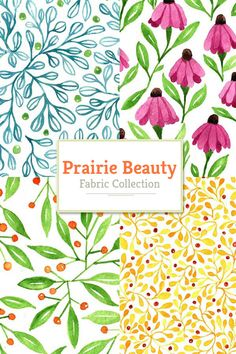 Prairie beauty fabric collection #spoonflower #roostery