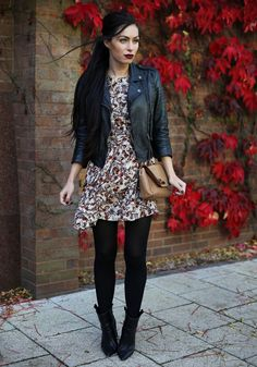 40d6b5b130 leather jacket with retro floral dress and black tights Black Tights  Outfit