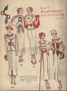 """Fragment czasopisma """"Praktyczna Pani. Dobra obywatelka"""" z 6 lipca 1935 roku. Hafty na polskim lnie. Folk Fashion, 1930s Fashion, Vintage Fashion, Bias Cut Dress, Classic Style, Classic Fashion, Vintage Outfits, Vintage Clothing, Pattern Cutting"""