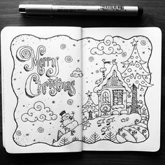 (at Portland, Oregon) Sketchbook Drawings, Ink Pen Drawings, Love Drawings, Doodle Drawings, Easy Drawings, Doodle Art, Sketches, Black And White Doodle, Copic Marker Art