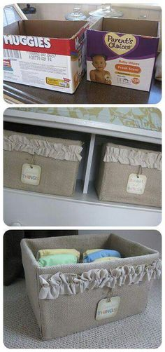 DIY Ideas and Tutorials for a Cute Baby Room 2019 Transform an Ugly Cardboard Box Into a Useful and Elegant Burlap Storage Option.Transform an Ugly Cardboard Box Into a Useful and Elegant Burlap Storage Option. Baby Crafts, Diy And Crafts, Baby Diy Projects, Burlap Projects, Do It Yourself Baby, Diy Rangement, Diy Casa, Ideias Diy, Burlap Crafts