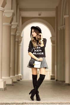FashionCoolture - 03/28/2016 look du jour black and white over knee boots winter outfit (6) Fashion Coolture waysify