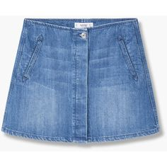 Buttoned Denim Skirt ($36) ❤ liked on Polyvore featuring skirts, embellished skirt, denim skirt, blue denim skirt, button skirt and denim button skirt