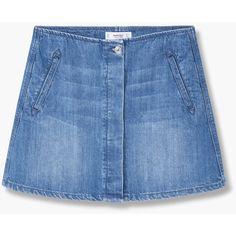 Buttoned Denim Skirt (115 BRL) ❤ liked on Polyvore featuring skirts, bottoms, embellished skirt, mango skirt, blue skirt, knee length denim skirt and button skirt