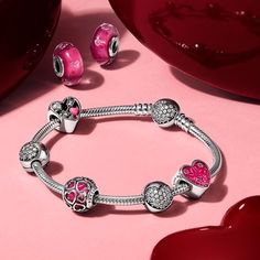 Coming soon! These sterling silver and vibrant pink pieces will make your heart skip a beat. We can't wait to show you more of the Valentine's Day 2017 collection. #Pandora