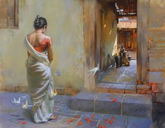 Check Out Beautiful Indian Art Gallery Paintings. Indian art is getting famous in every part of the world. It is quite true that the richness of this art has made it so famous. Indian Women Painting, Indian Art Paintings, Indian Artist, Ravivarma Paintings, Landscape Paintings, Watercolor Landscape, Abstract Paintings, Indian Art Gallery, Indian Drawing