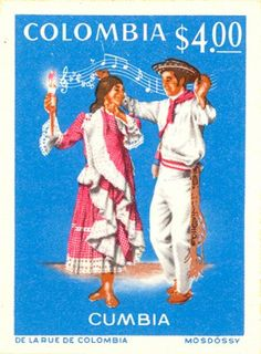 Colombia - Cumbia Native Country, Love Stamps, Dance Art, Costumes, Travel Posters, Postage Stamps, South America, Dancing, Baseball Cards