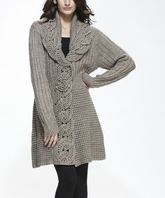Oatmeal Wool-Blend Cardigan #zulily #zulilyfinds