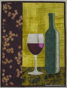 Art Quilt Note Card Bottle of Red by TerryAskeArtQuilts on Etsy