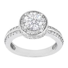 Round Diamond Vintage Style Crown Engagement Ring 0.82 tcw. In 14K White Gold