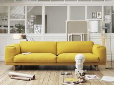 Go bold with yellow! Shop the Muuto Rest Three Seater Sofa now at Nest.co.uk
