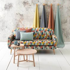 Warwick Fabrics: GINZA #upholsteryfabric #textiles #geometric #colour #australianmade #washable #pattern Two Seater Couch, Warwick Fabrics, Barbie Dream House, Soft Furnishings, Furniture Design, Upholstery, Home And Family, Lounge, Cushions