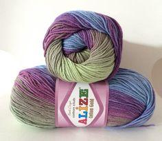 Alize cotton gold batik ombre double knitting DK yarn in blue purple green 3249 - 100g
